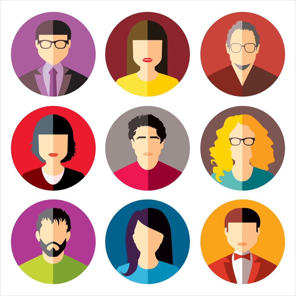 User Icons and People Icons in flat modern style. Vector illustration